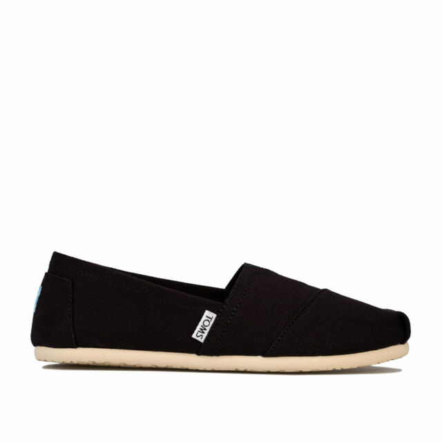Womens Toms Classics Canvas Cushioned Slip On Textile Pumps In Black