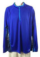 Mens Nordic Track Athletic Shirt Quarter Zip Size L Blue Black Nt Dri Polyester