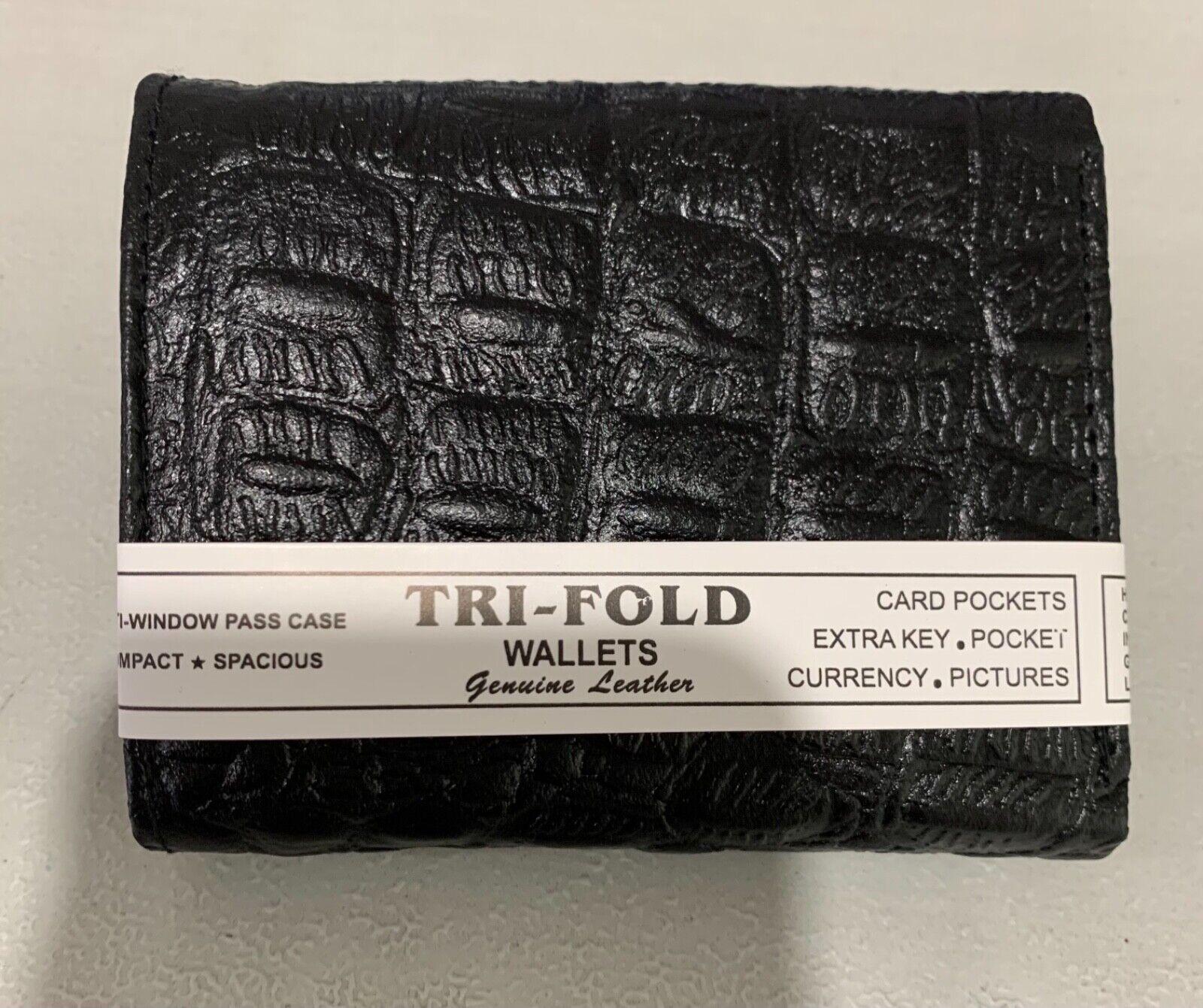 New fashion men black crocodile leather trifold zipper wallet purse