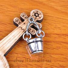 30pcs 25mm Charms bucket Pendant Tibet Silver DIY Jewelry Making Bail A7367