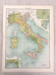 1898-Map-Of-Italien-Bay-Von-Neapel-Venice-ROM-Sardinien-Korsika-Alt-19th-Century
