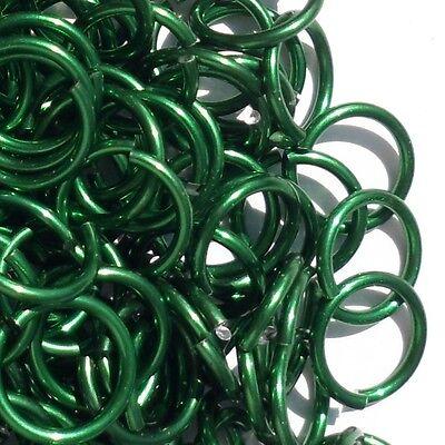 GREEN Anodized Aluminum JUMP RINGS 250 7//32 18g SAW CUT Chainmail chain mail