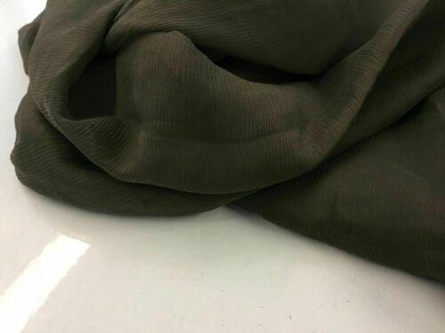 """Nuevo Verde Caqui francés 100/% Seda Arrugado Chifón Tela 55/"""" 139 cm Bufanda Dama"""