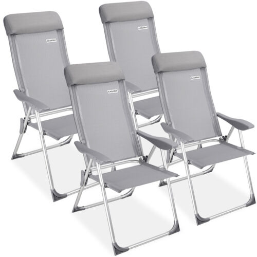 4x Garden Chair Aluminium High Back Grey Folding Camping Outdoor Patio Furniture