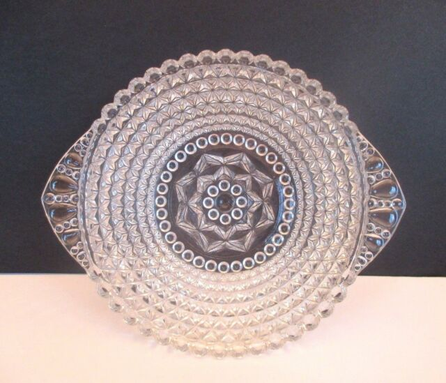 Vintage Handled Diamond Point Bowl with Bubble Trim