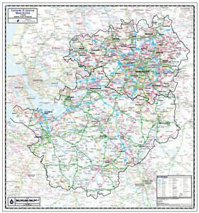 CHESHIRE COUNTY WALL MAP incls GREATER MANCHESTER. MAP SCALE 1 ...