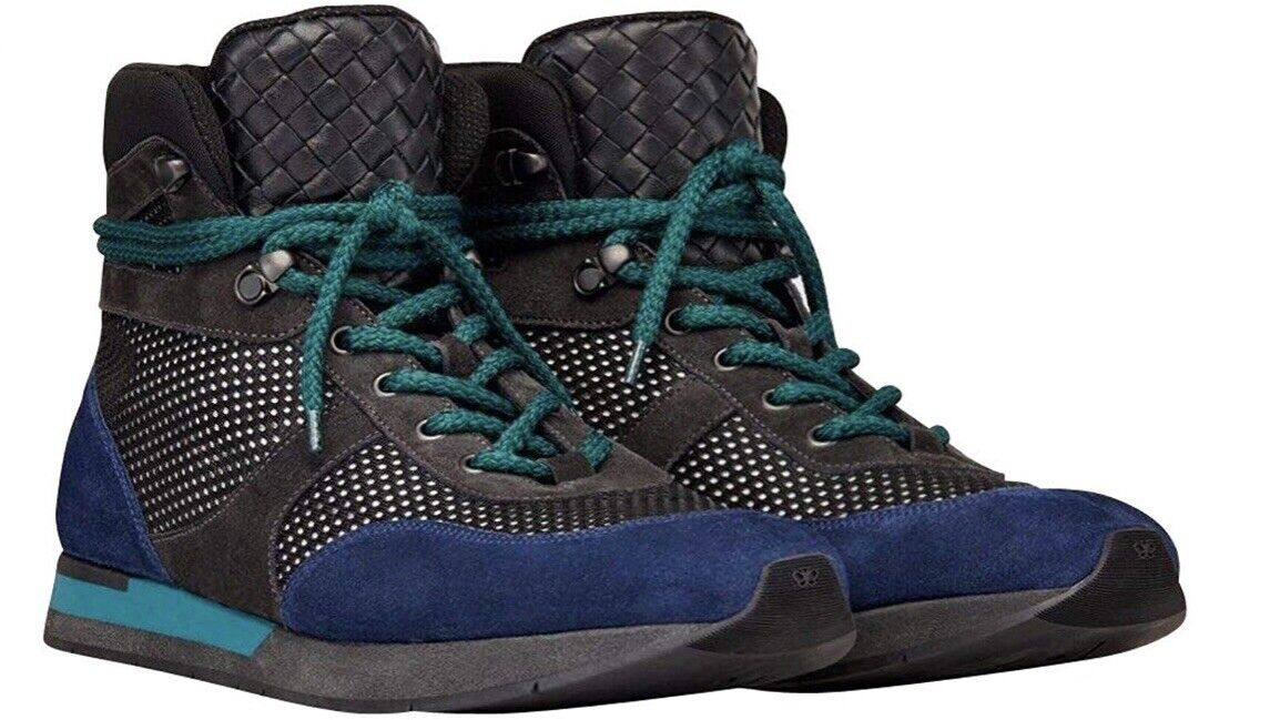 Bottega Veneta⚡️[ 850] blu suede mesh hiking high top scarpe da ginnastica Dimensione 43.5 10.5
