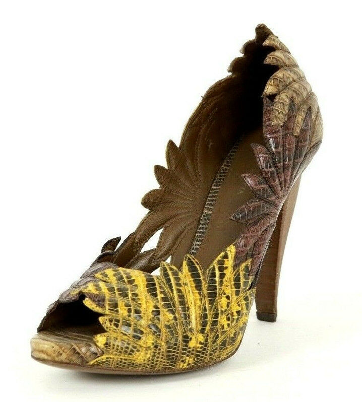 BOTTEGA VENETA Earth Tone Leaf Cut-Out Lizard Skin Peep-Toe Pumps 35.5