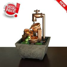 Small Desktop LED Relaxation Fountain Feng Shui Water Sound Table Waterfall NEW