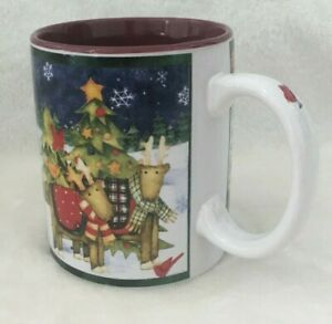 Gibson-Debbie-Horn-DNO-Welcome-Christmas-Cup-Mug-11-oz-Reindeer-Stars-Snow