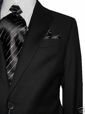 MANTONI 2B MEN'S 100% WOOL SUIT SOLID CHARCOAL 52L 52 L FREE FAST SHIP & TIE SET