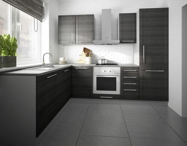 Feldmann-Küchen Tytan 8x8cm L-Form Küchenzeile - Grau/Fino Schwarz  (8)