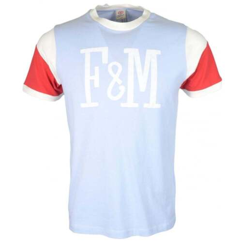 Franklin /& Marshall MF386 Cotton Round Neck Pastel Blue T-Shirt