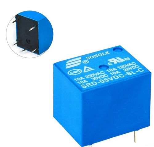 2PCS NEW Mini DC 5V SONGLE Power Relais SRD-5VDC-SL-C PCB Type 5 Pin