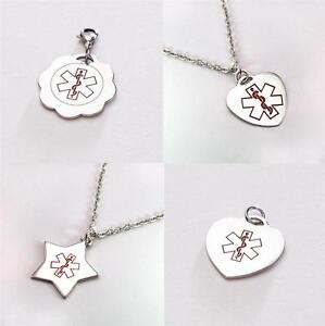 Medical id sos charm pendant necklace chain or clasp free image is loading medical id sos charm pendant necklace chain or aloadofball Images