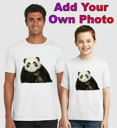 Add Your Face Funny Birthday Gift Kids Adults Top Personalised Panda T-Shirt