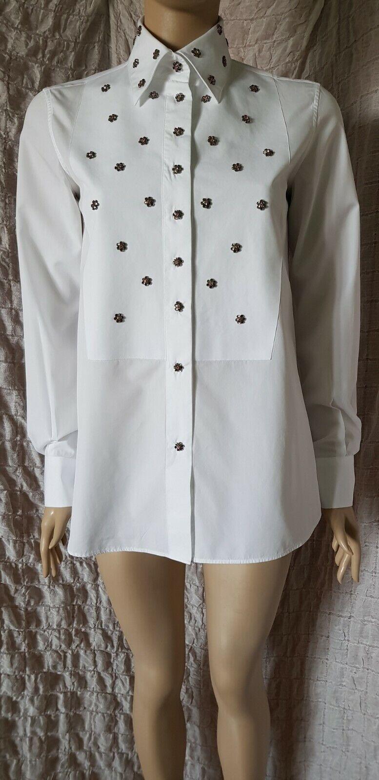 Ermanno Scervino glass brass white cotton plain jewelled embellished shirt