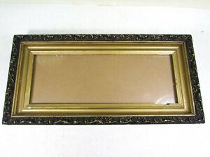 "Vintage Wood Picture Frame Gold Black Gesso 18 1/2"" x 9"" Fits 14 1/2"" x 5 1/4"""