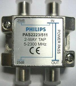 Derivatore Partitore Philips 2 Vie 1 Passante TV SAT - Italia - Derivatore Partitore Philips 2 Vie 1 Passante TV SAT - Italia