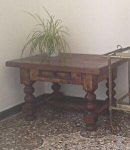 Tavolino Salotto In Noce.Dettagli Su Tavolino Salotto In Legno Con Cassetto Antico Tavolo Studio Desk Noce Pianta