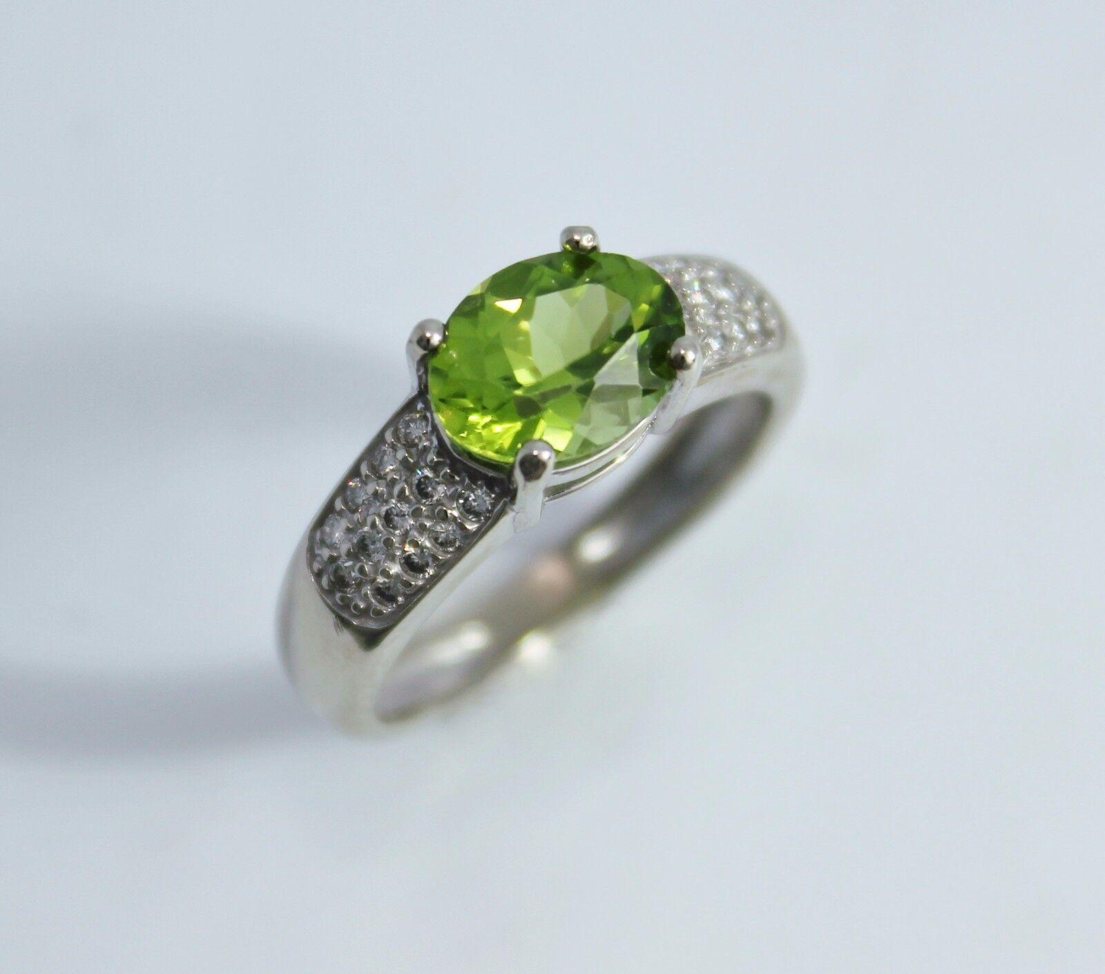14k White gold Peridot Ring, Oval Peridot, Diamond Accents, Size 7