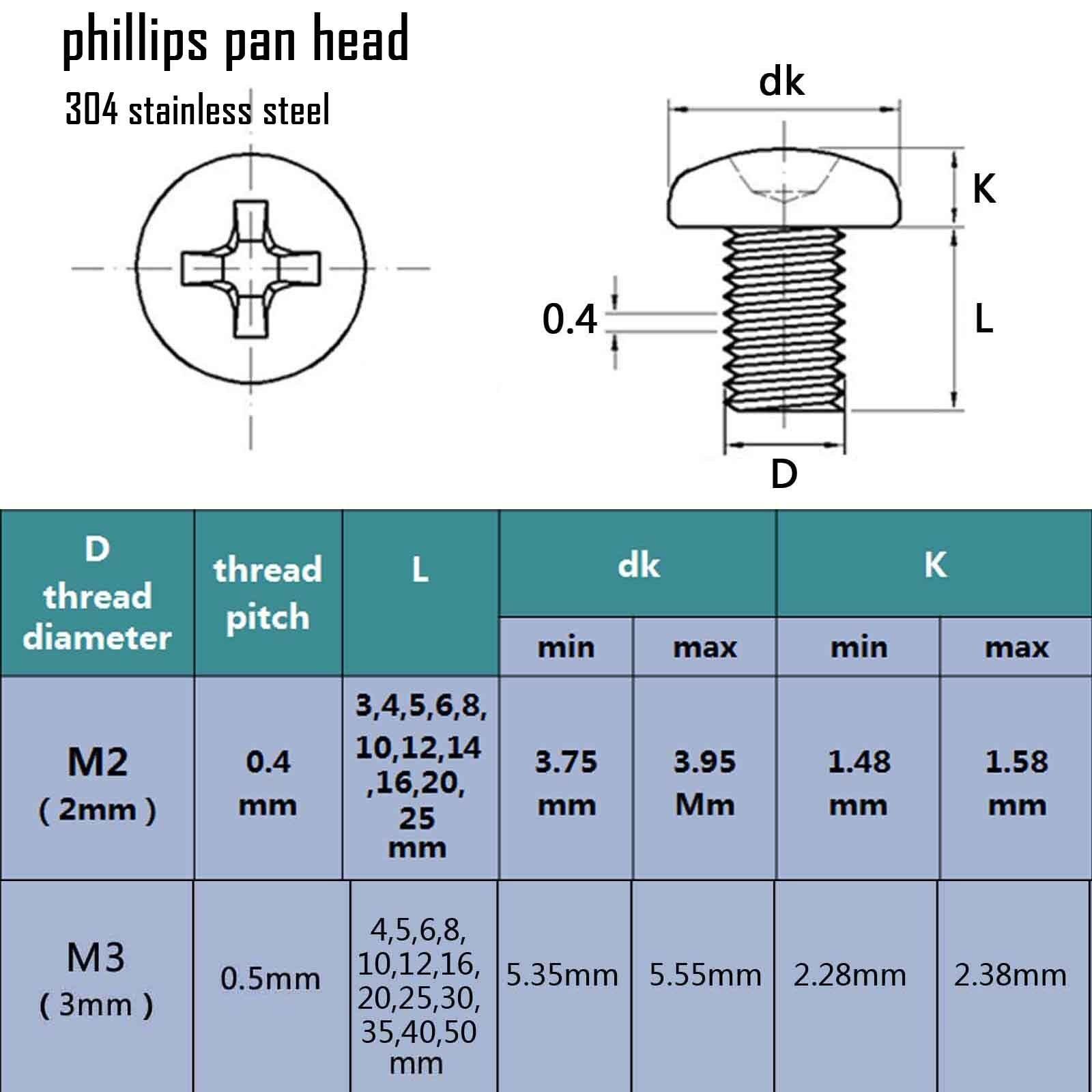 Phillips Round Head M3 Nickel Plated Screw Bolt Machine