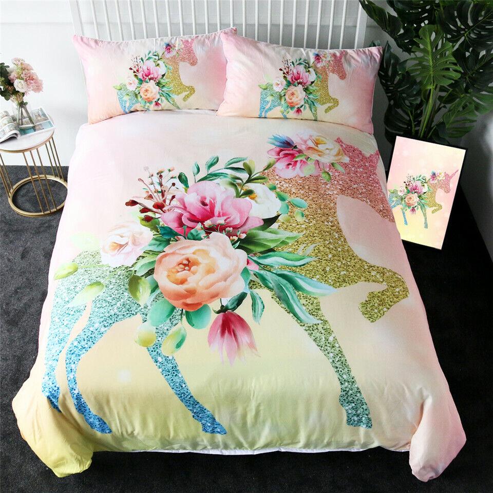Flower Unicorn Double Single Quilt Duvet Pillow Case Startseite Bett Set Bettding
