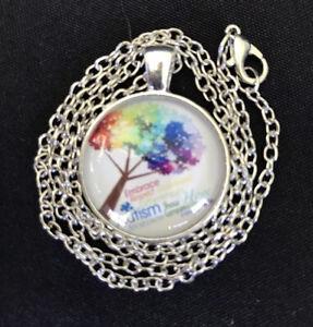 Autism Awareness Puzzle /& Natural Kyanite Pendant Necklace Ladies Gift Reiki