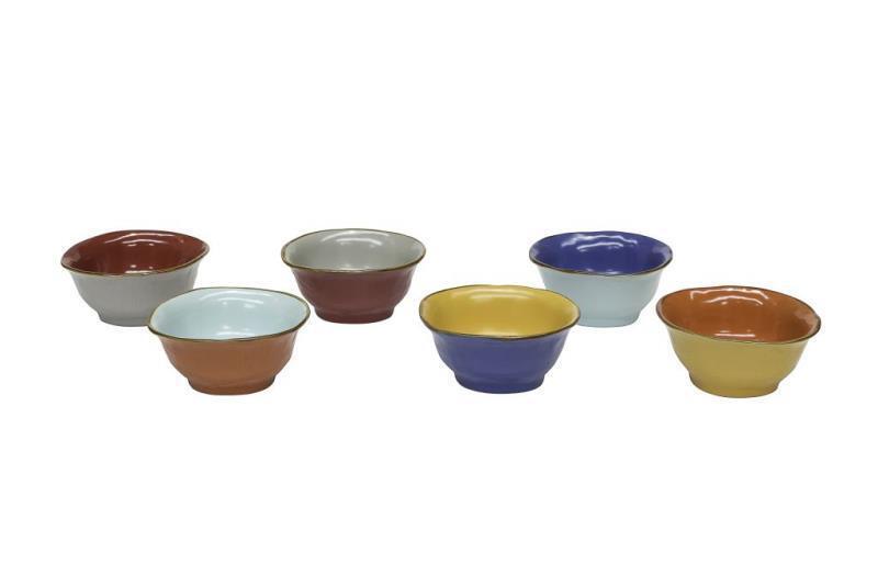 Service de 6 Tasses pour Salade fruits céramique Récipient douceur neuf couleurs