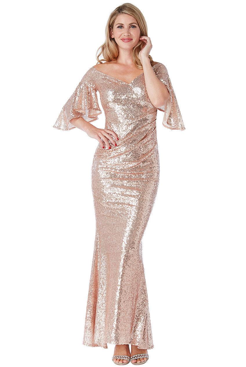 New Goddiva Champagne Sequin Off-Shoulder Maxi Prom Bridesmaid Party Dress(8-16)