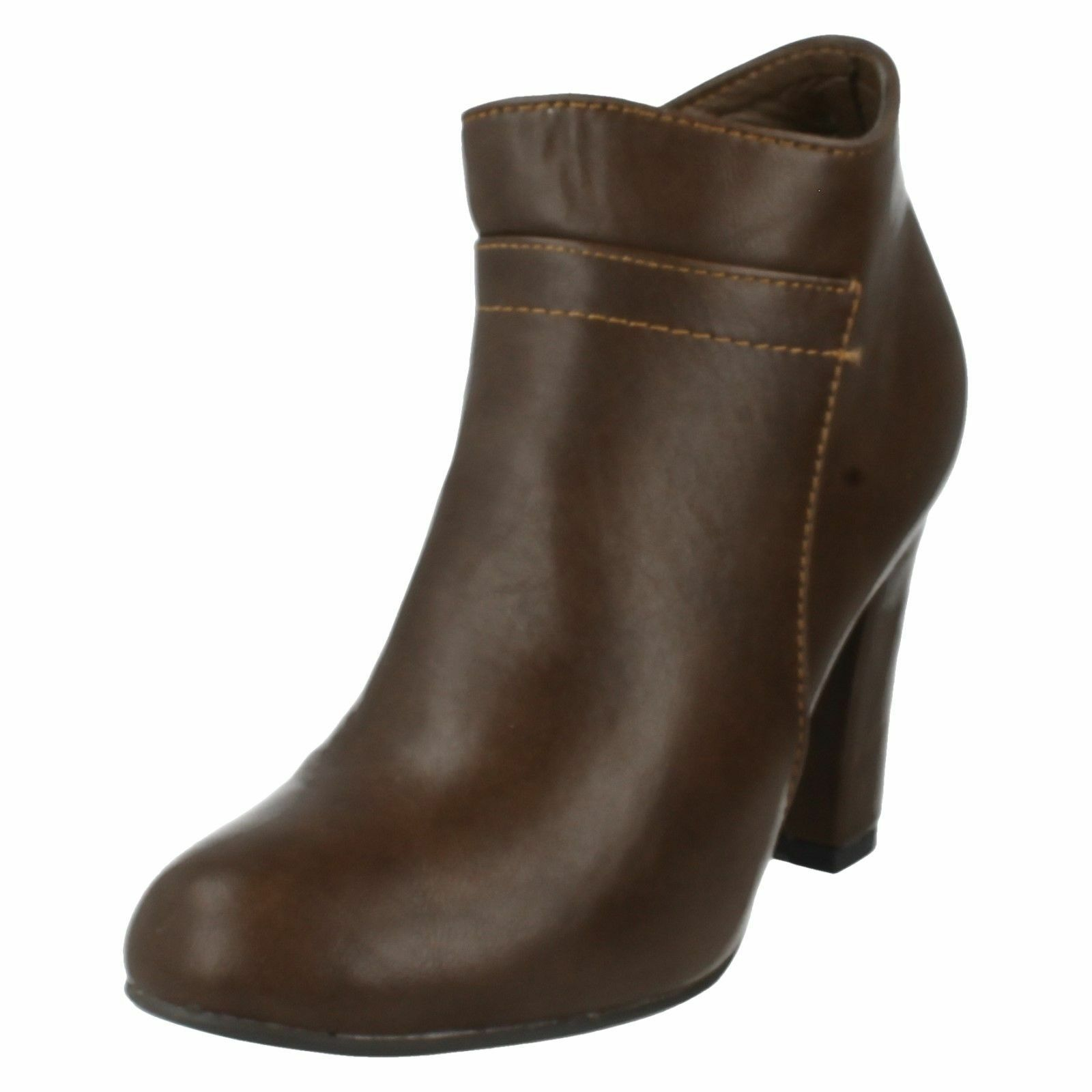 Spot On F5949 Ladies Brown Zip Fastened Synthetic Ankle Boots