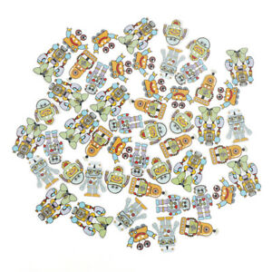 50pcs-mixed-wooden-button-mulity-robots-pattern-scrapbook-craft-buttons-mix-evM0
