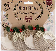 Set 4 Jute Christmas Pudding Decorations Vintage Fabric Christmas Tree Hangers