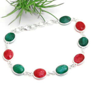 Faceted-Ruby-Emerald-925-sterling-silver-jewelry-Red-and-Green-bracelet