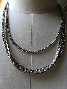 Vintage-Gold-Tone-Necklace-Multi-Strand-Snake-Chain-Retro-80-039-s-Kitsch-20-039