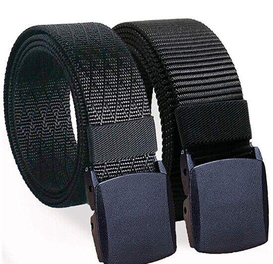 WERFORU Mens Nylon 1.5in Width Adjustable Belt With Military Plastic Buckle