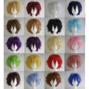 Multi-Color-Short-Straight-Hair-Wig-Anime-Party-Cosplay-Full-sell-Wigs-Cap-Eager