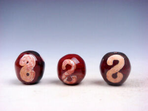 3 Old Tibetan Agate Cinnabar Money Hooks Dzi Beads #12291901