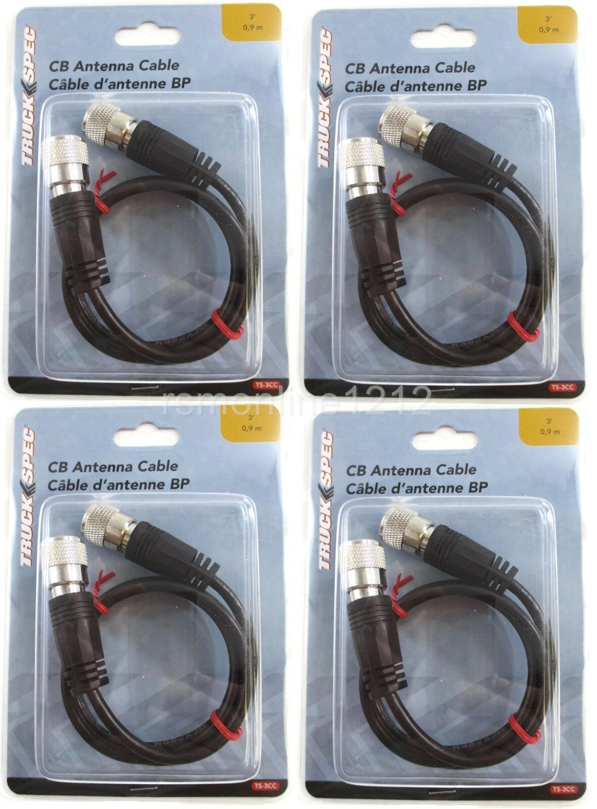 NEW TRUCKSPEC 9/' 9 Foot CB Antenna Mini-8 Silver Coax Cable w//PL-259 Connectors