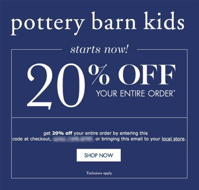 34f61bf060fc 20% off POTTERY BARN KIDS coupon code online/in stores Exp 7/5/19 10 ...