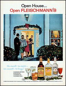 1963 Holiday open house Fleischmann's whiskey vodka gin retro art print ad LA7