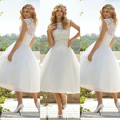 MS ladys Sexy White Lace  Prom Dress Bridesmaid Formal Evening Dresses Size 6-14