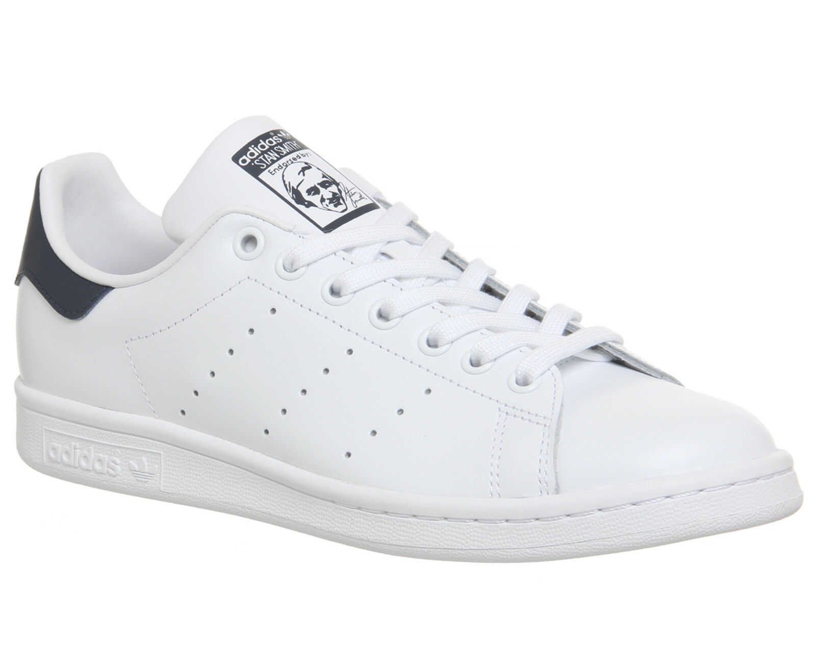 Mens Adidas Stan Smith Trainers Core Weiß Dark Blau Trainers schuhe