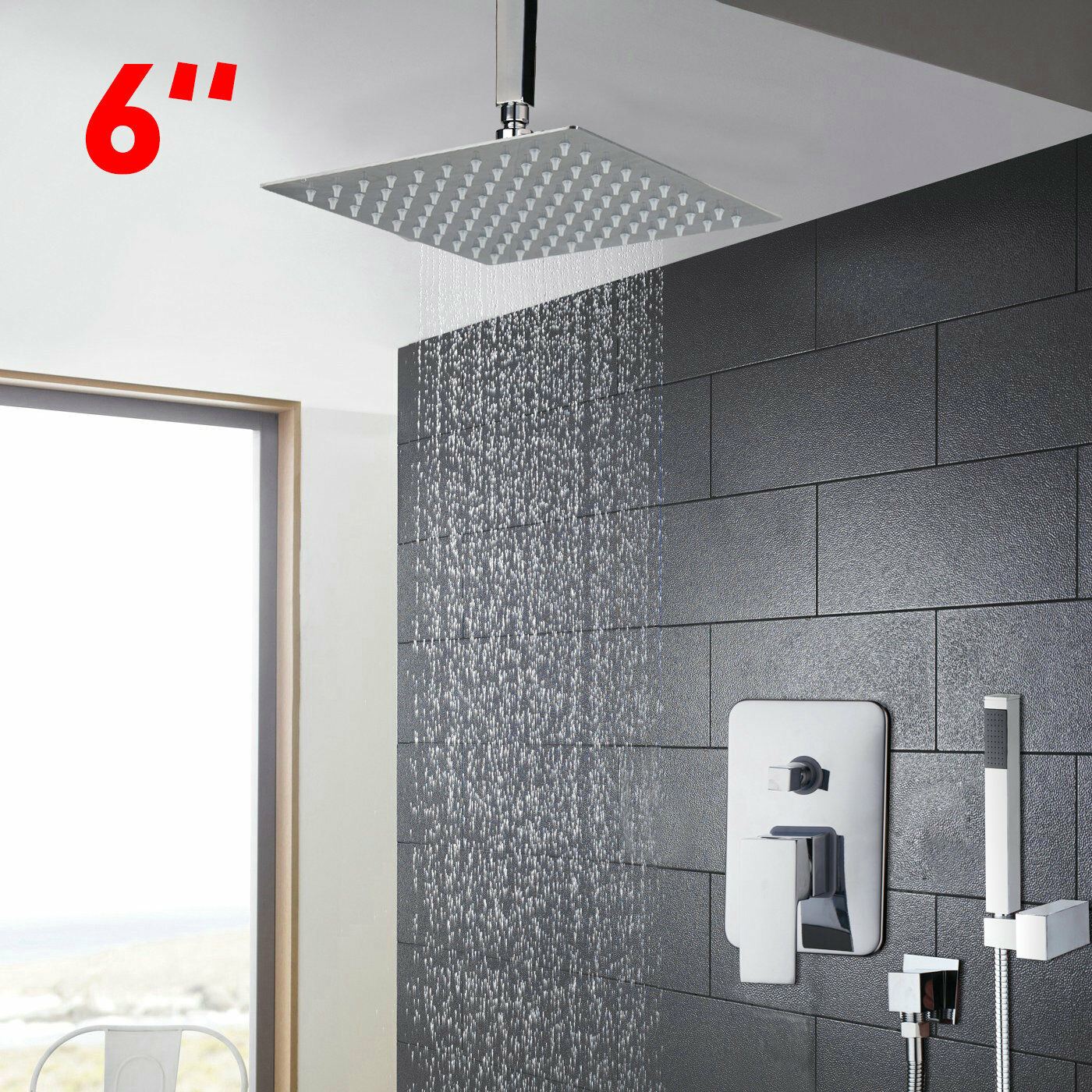 Details About Bathroom Rain Mixer Ceiling Mount Shower Faucet Combo Set 6 Rainfall Shower Head