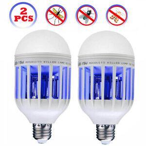 2 PCS Light Zapper LED Lightbulb Bug Mosquito Fly Insect Killer Bulb Lamp Home