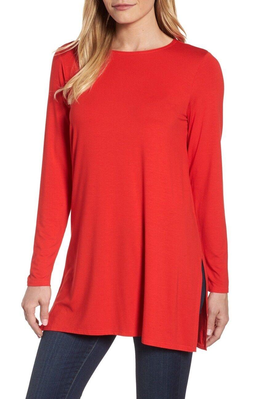 NEW Eileen Fisher Jersey Slit Tunic in Cherry - Größe XS  T30