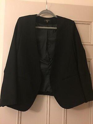 1-2-3 Parigi Senza Colletto Scanalata Maniche Blazer Nero 14-mostra Il Titolo Originale Promuovi La Produzione Di Fluidi Corporei E Saliva
