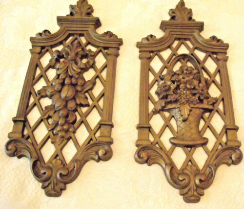 PR Floral Lattice Dark Gold Gild Syroco Plastic Wall Plaques 6x14 Dart '71 Vtg