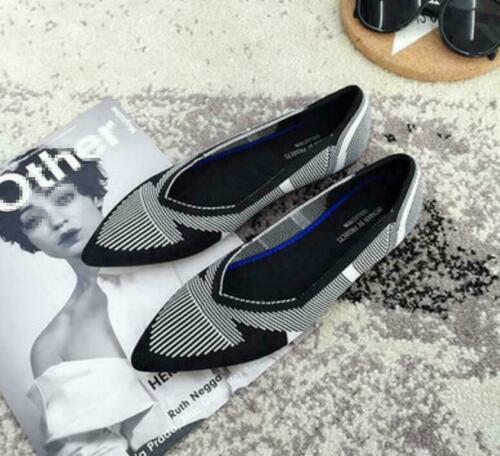 Womens Woven Pointed Toe Flat Boat Shoes Breathable Comfortable Ballet Shoes