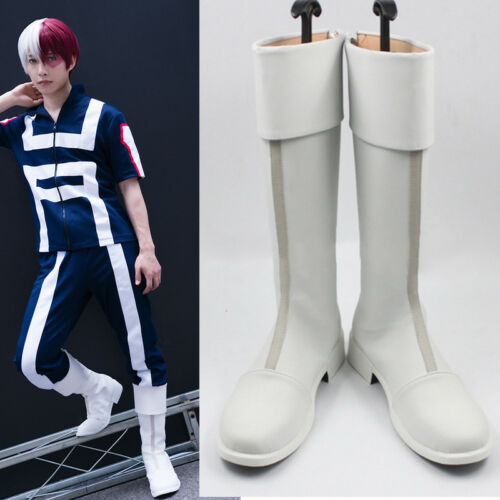Anime My Boku no Hero Academia Todoroki Shouto White Cosplay Shoes Boots